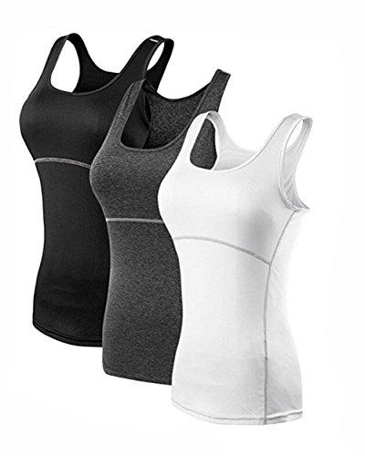 Suzone de sport pour femme de sport pour femme TOPS T-shirt de fitness Sleeveness Gilet 3 Pack Black,White,Grey