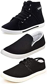 Ethics Men's Perfect Combo Pack of 3 Black Casual Loafer Shoes-for Black Shoes Lo