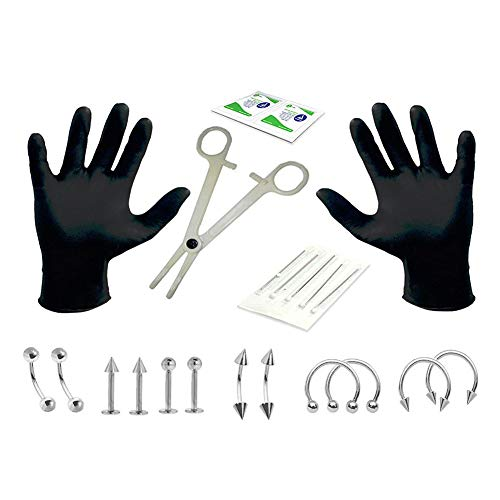 Leoie Disposable Steel Piercing Kit Sterile Needle Nipple Tongue Body Ring Tool Photo Color (22 Pieces/Set)