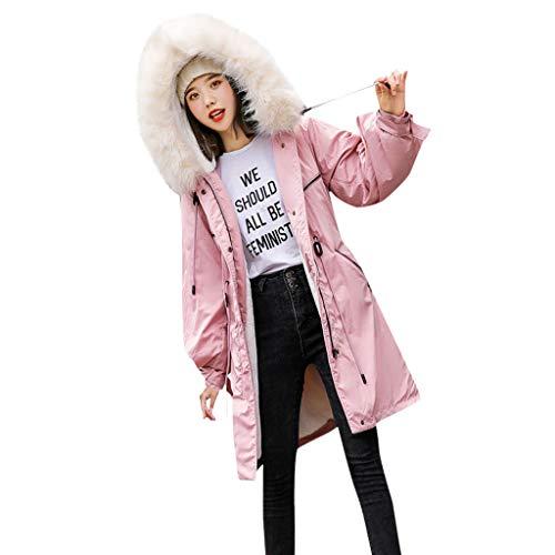 TianWlio Damen Mäntel Frauen Winter FrauenMode Plüsch Reißverschluss Tasche Hoodie Kordelzug Lange Jacken Outwear Coat Rosa XXL