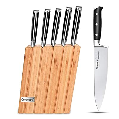 Ommani Kitchen Knife Set Professional Premium German Stainless Steel and Ergonomic Handle Chef Knife Set with a Gift Box, Best Choice for Cooking Lovers