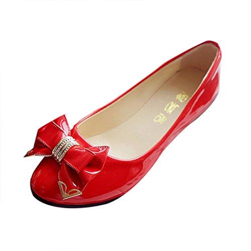 Rot Casual Schuhe (Klassische Damen Ballerinas Übergrößen Schuhe Elegante Slippers Stoffschuhe Metallic Schuhe Spitze Schuhspitze Abendschuhe Slipper Party Schuhe Geschlossene LMMVP (40EU, Rot))