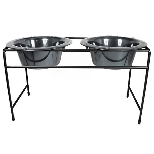 Platinum Pets Modern Double Diner Stand with Two 12 Cup Rimmed Bowls, Black Chrome by Platinum Pets -