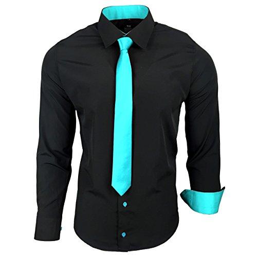 (Rusty Neal R-44-KR Herren Kontrast Hemd Business Hemden mit Krawatte Hochzeit Freizeit Fit, Größe:XL, Farbe:Schwarz/Türkis)