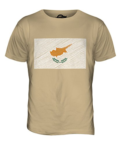 CandyMix Republik Zypern Kritzelte Flagge Herren T Shirt Sand