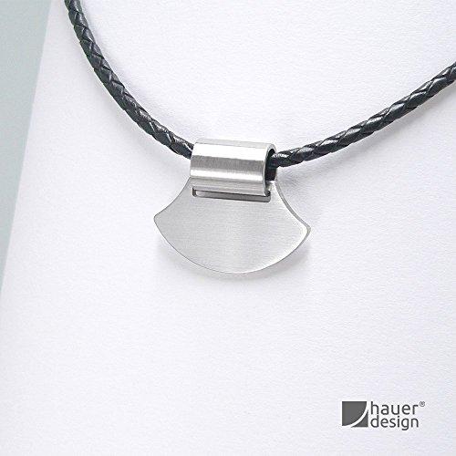 Anhänger Edelstahl - Kette Leder geflochten - Designerschmuck Damen - Ethno geometrisch...