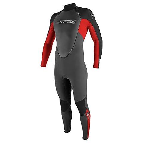 2017 O'Neill Reactor 3/2mm Flatlock Back Zip Wetsuit GRAPHITE / RED /BLACK 3798 Wetsuit Sizes - XXLarge
