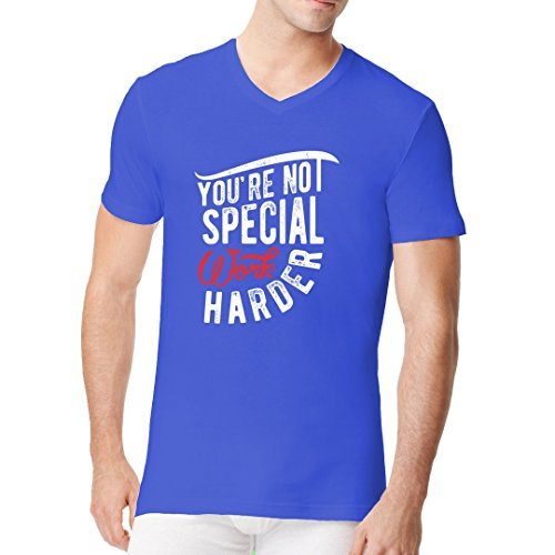 Fun Sprüche Männer V-Neck Shirt - Work harder by Im-Shirt Royal