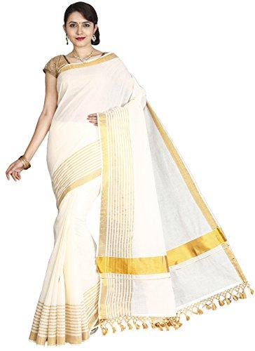 Jisb Kerala Kasavu zari stripe saree with fringes
