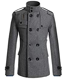 cf7ab5a42021 VaeJY Mens Double-Breasted Slim Fit Longline Fitted Overcoat Long Trench  Coat Jacket Grey US