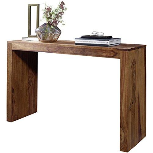 WOHNLING Konsolentisch Massivholz Sheesham Schreibtisch 115 x 40cm Landhaus-Stil Arbeitstisch Modern Ess-Küchen-Tisch Massiv dunkel-braun Echt-holz Natur Anrichte Konsole Sekretör Beistelltisch Flur