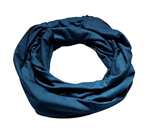 EXCHIC Unisexschal Leichter Langschal Loop Schlauchschal mit Reißverschluss-Tasche (Navy Blau)