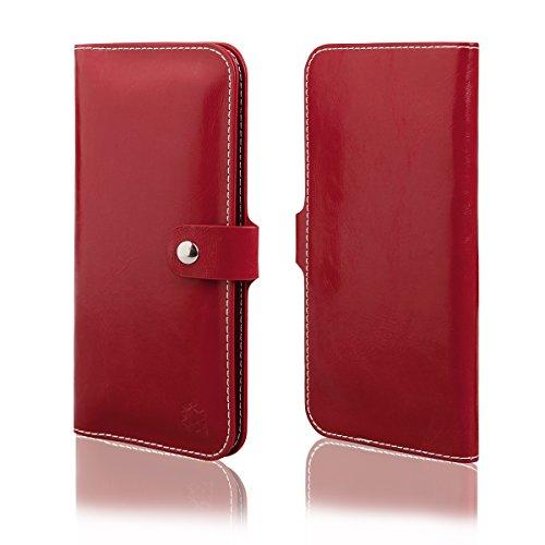 EGO® Wallet Case für iPhone 7, Schwarz Universal Schutz Hülle Kunstleder Tasche Book Etui mit Kartenfächern Geldscheinfach Druckknopfverschlüsse Weinrot