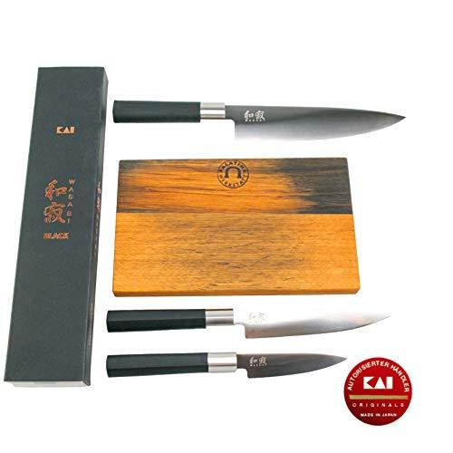 Kai Wasabi Black Set de Regalo Cuchillo 67EB-W18, 3extraafilada Multiusos Cuchillo/Cuchillo de Cocina + de Barril a Mano–Tabla de Cortar Madera, 25x 15cm