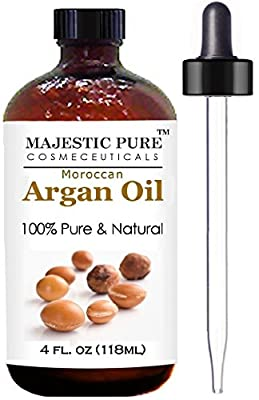 Moroccan Argan Oil for Hair and Face From Majestic Pure (118 ml), 100% Natural, Organic, Cold Pressed & Triple Extra Virgin Grade 1 Argan Oil from Majestic Pure