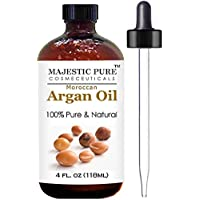 Moroccan Argan Oil for Hair and Skin From Majestic Pure, 100% Natural, Organic, Cold Pressed & Triple Extra Virgin, 4 Oz, Experience the Grade 1 Argan Oil Now! by Majestic Pure