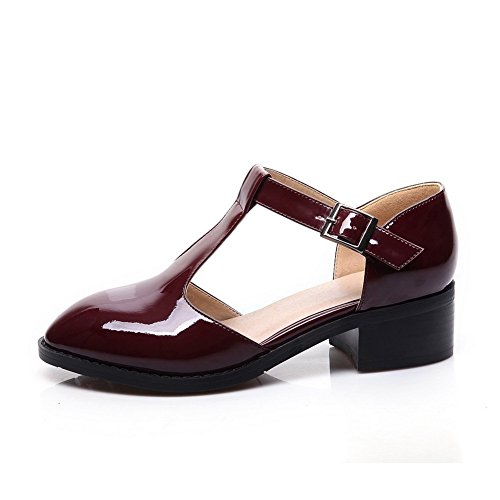 Adee Mesdames pointed-toe low-heels polyuréthane Pompes Chaussures Rouge bordeaux/blanc