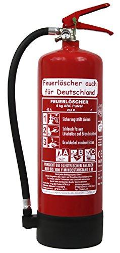 NEU 6 kg ABC Pulver Feuerlöscher auch für Deutschland DIN EN 3 GS + Standfuß + Wandhalter + Manometer 43 A, 233 B, C = 12 LE