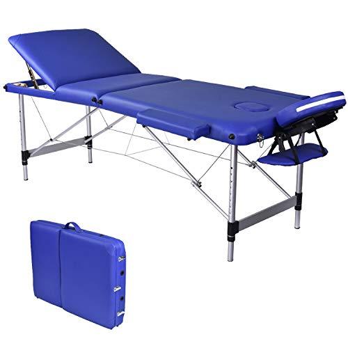 Wellhome lettino da massaggio 3 zone alluminio pieghevole portatile lettini massaggi professionale tavolo da massaggio tattoo fisioterapia con borsa da trasporto xxl(blu)