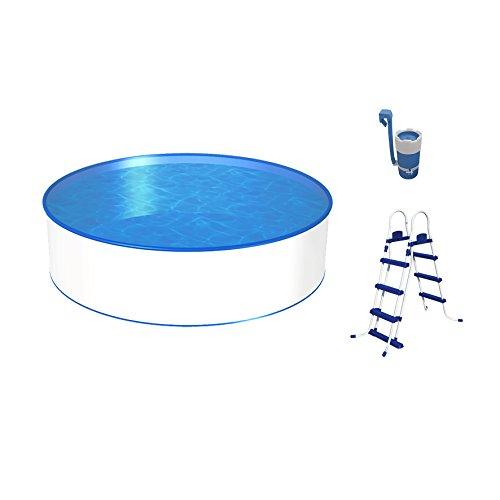 Poolset, Größe & Tiefe wählbar, Aufstellbecken mit 0,3mm Stahlwand, blaue Poolfolie, stabile Sicherheitsleiter und Kartuschenfilter 1,7m³/h-300 x 90cm
