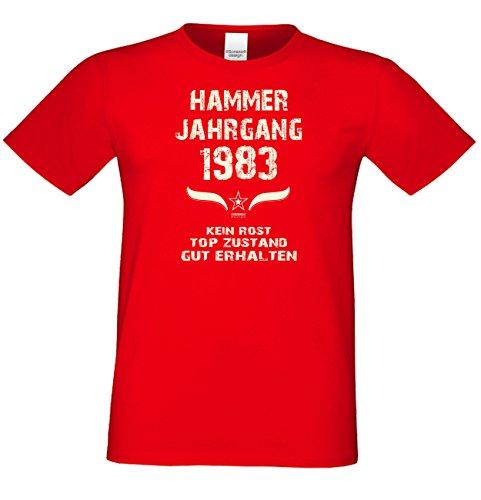 Geschenk Set : Geschenkidee Papa Vater 34. Geburtstag ::: Hammer Jahrgang 1983 ::: Herren T-Shirt Geburtstagsgeschenk für Männer ::: Farbe: schwarz Rot