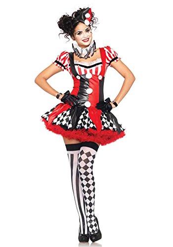 Sexy Harlekin Damenkostüm Clown schwarz rot weiss - (Erwachsenen Kostüme Harlekin Clown)