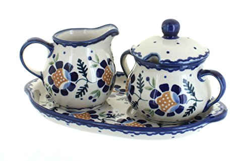 polish-pottery-sunflower-sugar-creamer-set-with-tray-by-blue-rose-pottery