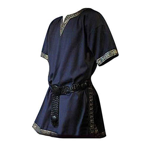 Herren Mittelalterlich Hemden - Retro Renaissance T-Shirts Mittelalter Gothic Tunika Kurze Ärmel V-Ausschnitt Tops für Halloween Cosplay Kostüm (Ohne Gürtel)