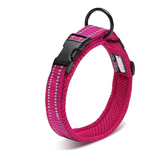 Petcomer Collare Cane Imbottito Nylon Regolabile Traspirante Riflettente Collari per Cani Gatti(Rosa M)
