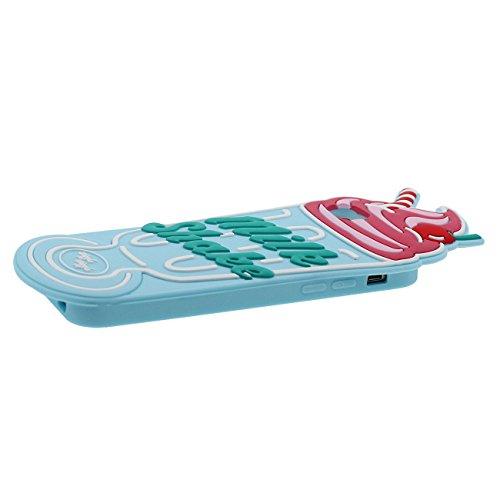 Coque Housse de Protection pour Apple iPhone 6 6S 4.7 inch Doux Silicone Case Anti choc 3D Crème glacée Forme Cyan avec 1 Silicone Kickstand cyan