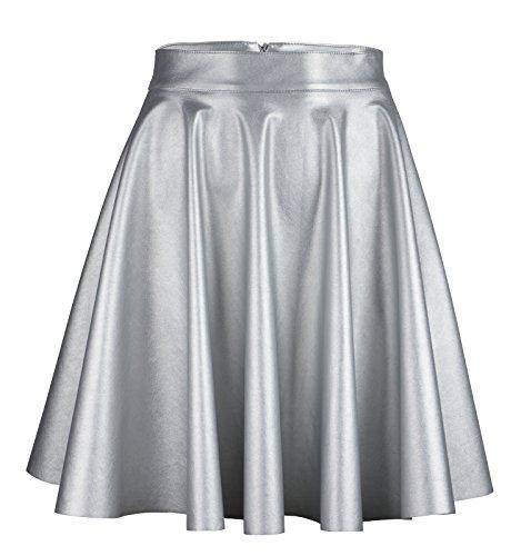 Roban Fashion ® Damen Röcke Wetlook Hohe Taille Hippie Röck Flared Ausgestellt Lederrock Midi Mini (42/L Taille 78cm, Silber-Midi)