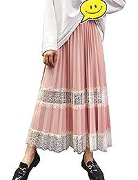 1e23301145 Falda Tul Mujer Falda Midi Plisada con Cintura Elástica Falda De Encaje  para Uso Diario Oficina