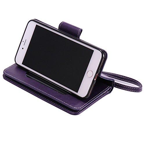 iPhone Case Cover IPhone 7 Plus Case, fleurs pressées en relief modèle de fille et de chat PU Housse en cuir avec sangle de main et 9 Slot de carte Cadre photo pour iPhone 7 Plus 5.5 pouces ( Color :  Purple