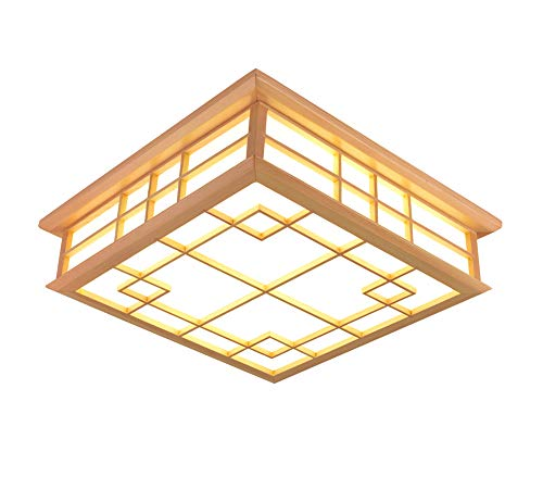 CHXHF 24-W-Japan und Tatami Zimmer Lampe leuchtet die LED Deckenleuchte aus Massivholz Schlafzimmer Deckenleuchte (450 * 450 * 120mm), warmes Licht