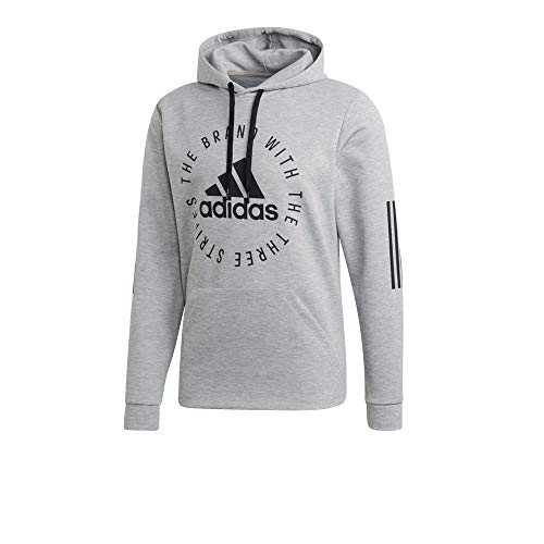 adidas Sport ID Sweat-Shirt à Capuche Homme, Medium Grey Heather/Black, FR : M (Taille Fabricant : M)