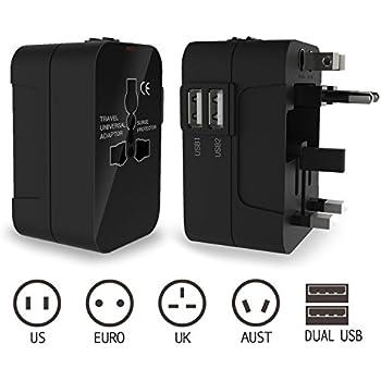Reiseadapter, International Universal Stecker-Adapter mit Wand-Ladegerät AC-Steckdose und Dual USB-Ladefunktion Anschlüsse für USA EU UK AUS (Schwarz)