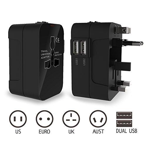 Reiseadapter, International Universal Stecker-Adapter mit Wand-Ladegerät AC-Steckdose und Dual USB-Ladefunktion Anschlüsse für USA EU UK AUS (Schwarz) (Wechselstrom-wand-ladegerät-adapter)