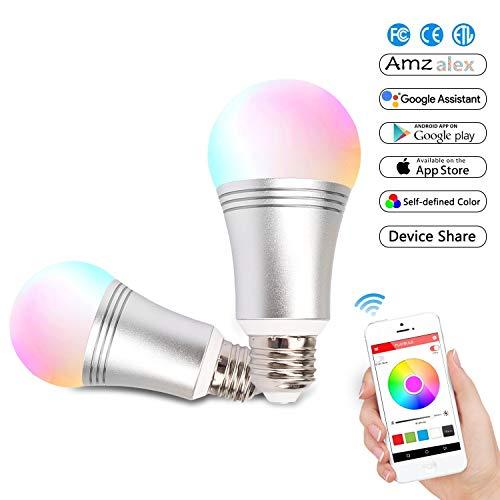 Alexa Smart lampe, BEYOND Wifi Dimmbare LED-Licht Kompatibel mit Amazon Alexa & Google Home, 7W mehrfarbige Lampe aus Aluminiumlegierung, ferngesteuert von IOS/Android Devices