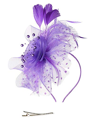 DRESHOW Fascinators Hut Blume Mesh Bänder Federn auf einem Stirnband und einem geteilten Clip Cocktail Tea Party Headwear für Mädchen und Frauen,Purple,Einheitsgröße -