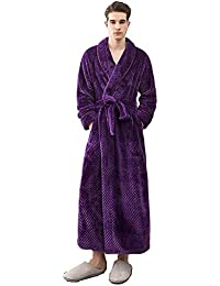 BCL-Pajamas Mens Dressing Gown Full Length Bathrobe Cotton Towelling Bath  Robe Lightweight (Color   PURPLE bc809dc90