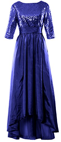MACloth Women 3/4 Sleeve Sequin Taffeta High-Low Prom Dress Party Formal Gown Royal Blue