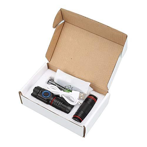 Vaycally Torcia, Torcia a LED Ricaricabile, 5 modalità Zoom 4X XPG 18650 Batteria USB Ricaricabile Set di luci, Torcia Super Luminosa con Scatola, Potente Torcia Impermeabile per Escursioni in cam
