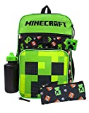 Minecraft Creeper TNT 5 Piece Backpack Set | Lunch Box, Pencil Case, Bottle, Squishy & Backpack