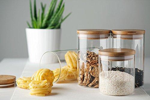UH Choice Schöne 3-er Vorratsgläser Set (gleich groß), Vorratsdosen Glass Jars aus Borosilikatglas mit Bambus Lid, D 9,6 cm, H 21 cm, ca. 1,3L
