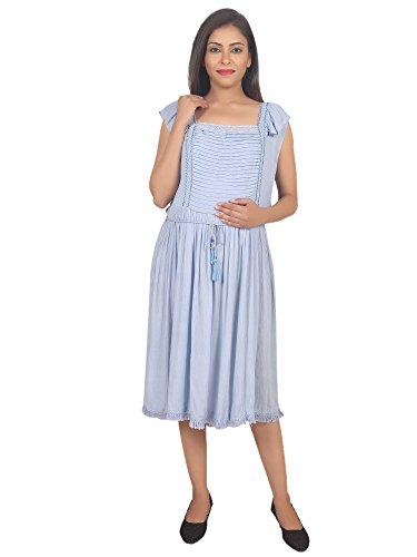 9teenAGAIN Womens Rayon Crepe Maternity Dress(Light Blue, Medium)
