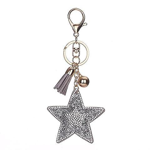 Full Rhinestone Keyring, Chickwin Lovely Fashion Five-pointed Star Leather Tassel Key Ring Handbag Keychain Gift Key Chains