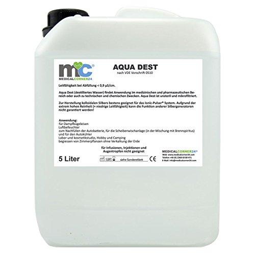 Aqua Dest 5 Liter Kanister destilliertes Wasser, unsteril und mikrofiltriert für medizinische, pharmazeutische Bereiche, technische und chemische Zwecke -