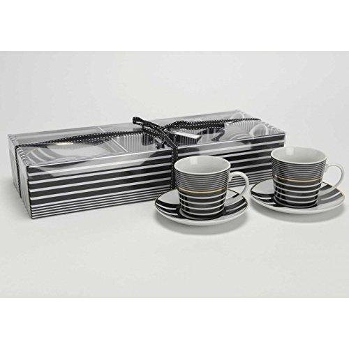 Kulunka Outlet Tasses et soucoupe Ensemble, EN ACIER et porcelaine, Noir et Blanc, 13x 13x 10cm, Lot de 4