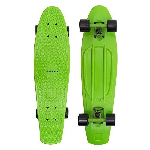 Apollo Fancy Skateboard, Vintage Mini Cruiser, Komplettboard, 28 inch (71,1 cm), Mini-Board mit Kunstsoff Deck, Farbe: Grün/Schwarz