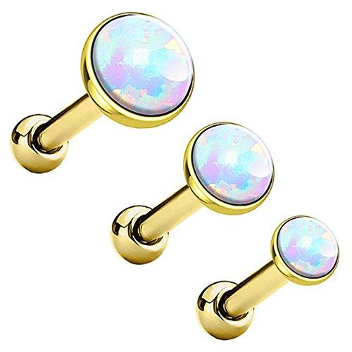 Piersando Tragus Piercing Helixpiercing Helix Ohr Cartilage Knorpel Stecker mit flachen Opal Steinen Gold Weiß Set